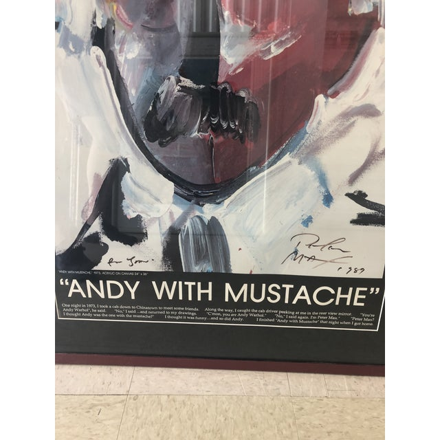 """Peter Max litho Andy Warhol """"Andy with Mustache"""". Nicely framed"""
