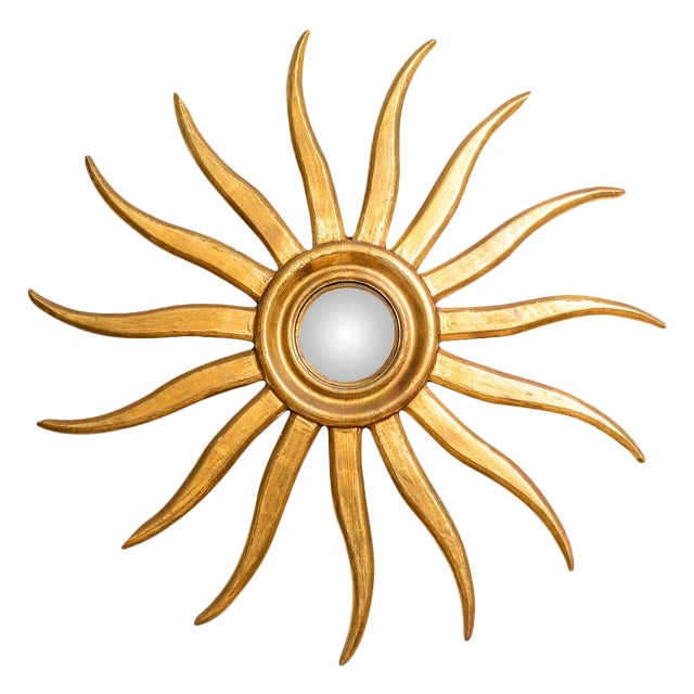 Italian Gilt Wood Sunburst Mirror With Convex Mirror For Sale