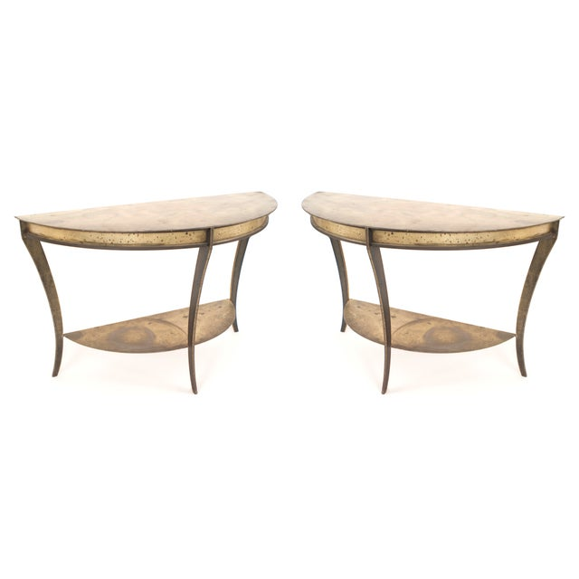 Mid 20th Century Pair of American Mid-Century Demilune Console Tables For Sale - Image 5 of 5