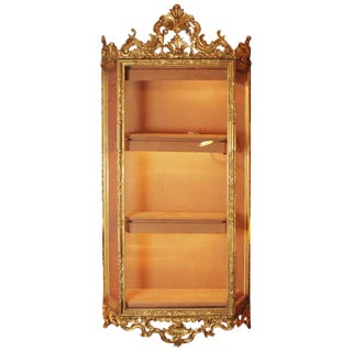 1900s Louis XVI Ornate Impressive Venetian Giltwood Hanging Cabinet For Sale