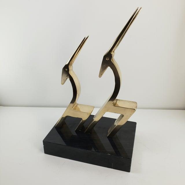 Vintage Brass 2 Gazelle Sculpture Mid Century Modern Table Art For Sale - Image 9 of 12