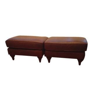 Dark Brown Leather Ottomans - A Pair