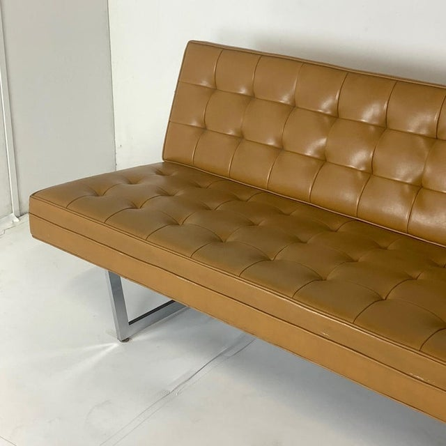 Metal Patrician Mid-Century Steel Sled Base Saddle Naugahyde Tufted Gallery Sofa For Sale - Image 7 of 8