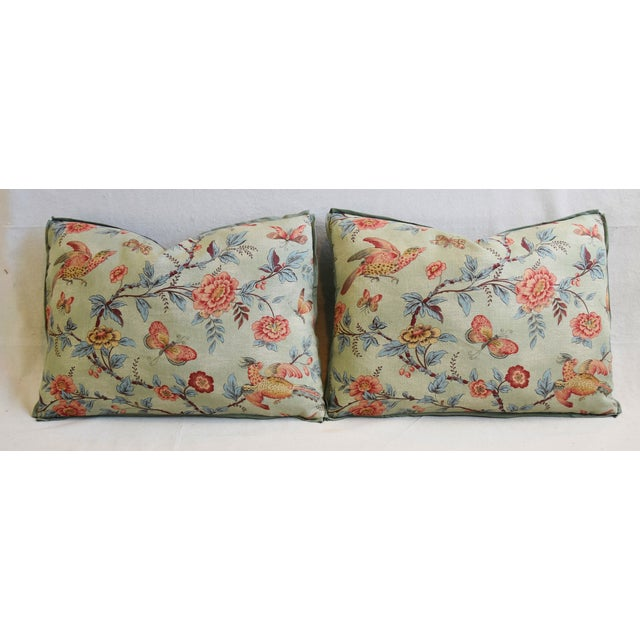 "Designer Jasper Wallace Floral Vine Feather/Down Pillows 23"" X 16"" - Pair For Sale In Los Angeles - Image 6 of 13"