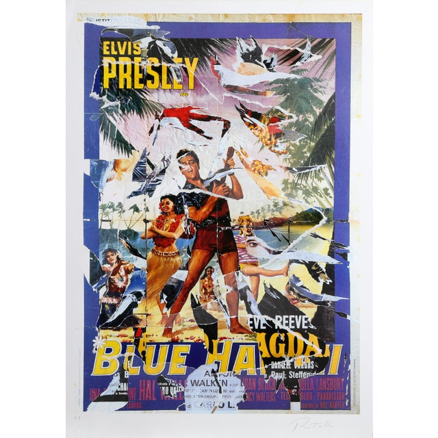 Mimmo Rotella Mimmo Rotella - Blue Hawaii Serigraph With Collage For Sale - Image 4 of 4