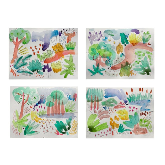 """English Garden, Set of Four Original Watercolor Paintings 11x15"""" Each For Sale"""
