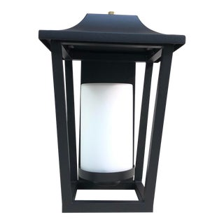 Hinkley Lighting Sullivan Outdoor Black Lantern Wall Sconce For Sale