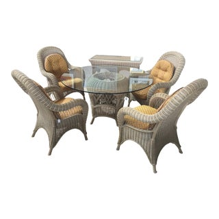 Pennsylvannia House Wicker Dining Table Chairs & Server For Sale