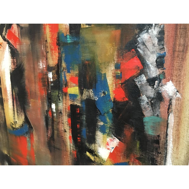 Abstract Abstract Oil Painting on Canvas Signed Wagner For Sale - Image 3 of 9