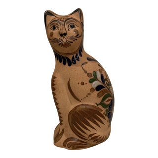 Life Size Tonala Mexican Folk Art Pottery Hand-Painted Cat For Sale