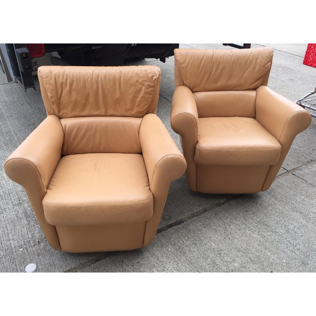 Tan Vintage Leather Club Chairs a Pair For Sale - Image 8 of 8