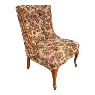 Vintage French Cabriole Tufted Slipper Chair With Tapestry Style Floral Upholstery For Sale