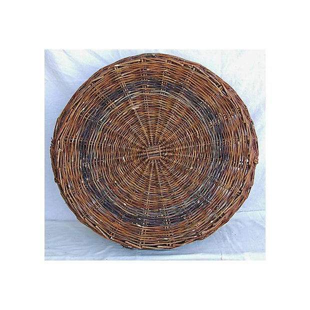 Large French Woven Willow Grape Harvest Basket - Image 3 of 9