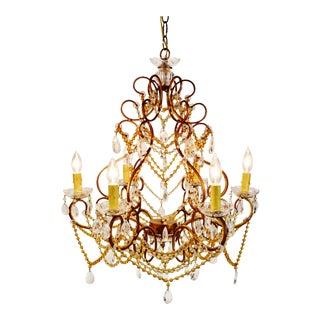 Vintage 6 Arm Crystal Prism Chandelier For Sale