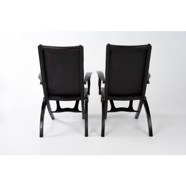 1970s Vintage Angel I. Pazmino for Muebles De Estilo Leather Armchairs- A Pair For Sale - Image 4 of 13