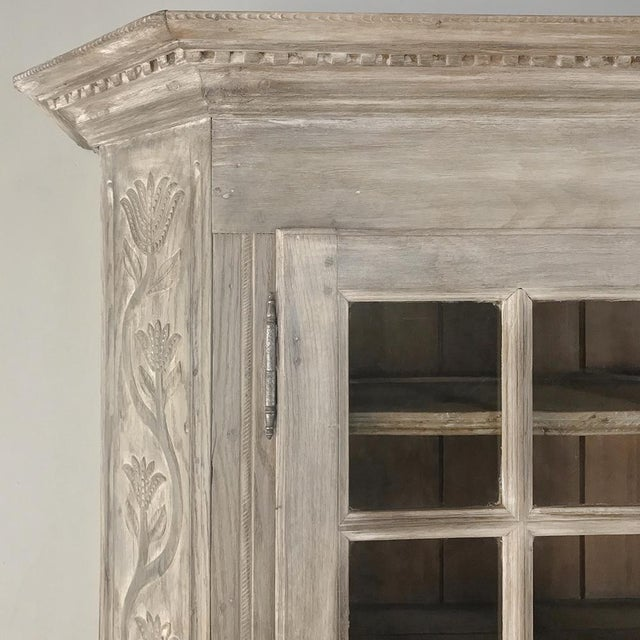 19th Century Country French Rustic Whitewashed Bookcase ~ Cabinet For Sale - Image 10 of 13
