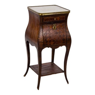 20th C. French Louis XVI Marquetry Wood Night Stand For Sale