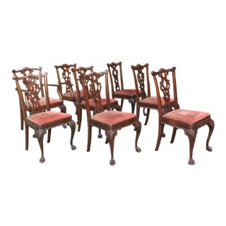 Set of 8 Antique English Mahogany Chippendale Dining Chairs With 2 Armchairs For Sale