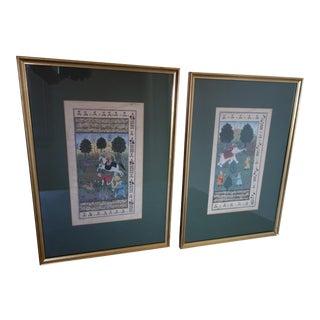 Persian Miniature Watercolors - a Pair For Sale