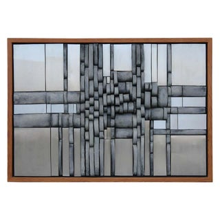 Ceramic and Aluminum Wall Sculpture With Pine Frame For Sale