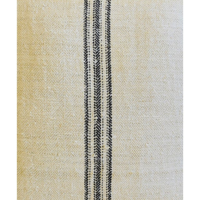 """French Woven Black Striped Grain Sack Feather/Down Pillows 20"""" X 21"""" - Pair For Sale - Image 4 of 12"""