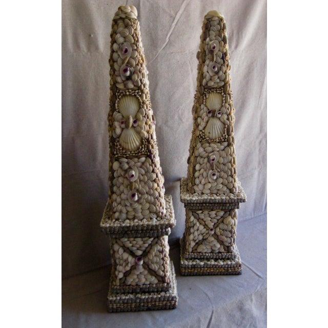 Large Vintage Mid-Century Modern Shell Obelisks - a Pair For Sale - Image 4 of 12