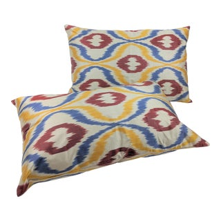 Uzbeki Handmade Ikat Silk Pillow Covers- A Pair For Sale