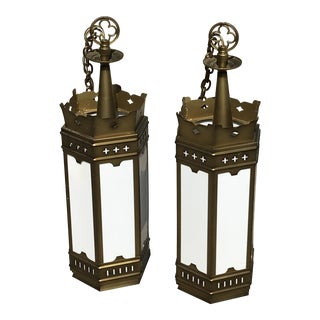 1960s Large Gold and Milk Glass Cathedral Gothic Revival Lanterns - a Pair For Sale