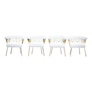 Modern Mid Century Style Glam Chairs- Set of 4 For Sale