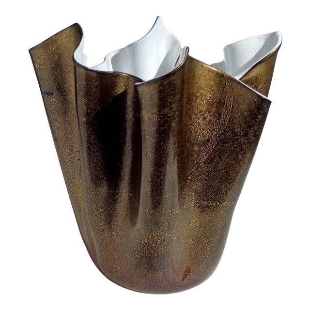 Murano Artist Signed Black White Gold Flecks Italian Art Glass Fazzoletto Sculptural Vase For Sale