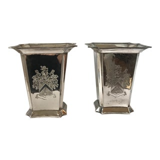Engraved Silverplate Vases - A Pair
