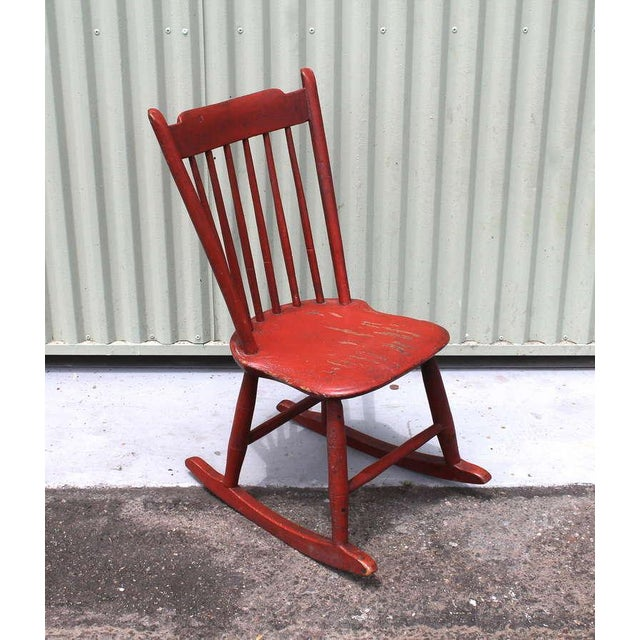 This fantastic 19thc original painted salmon children's rocking chair is from New England and is in great condition. The...
