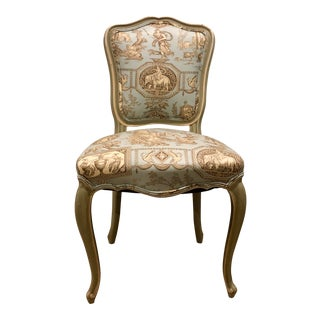 Neoclassical Blue Toile Chair For Sale