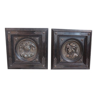 Repousse Wall Plaques - Pair For Sale