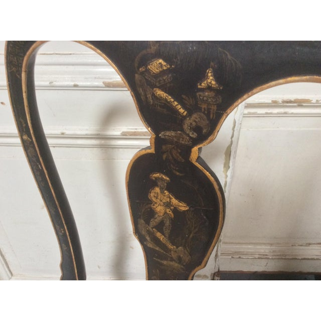 Animal Skin Antique Chinoiserie Desk Chair With Leather Seat For Sale - Image 7 of 10