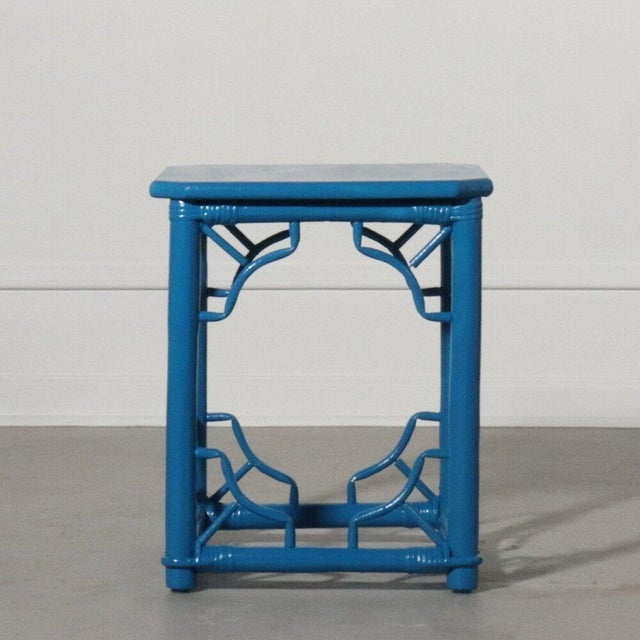 1970s Rattan Fretwork Side Table Painted Blue For Sale - Image 5 of 9