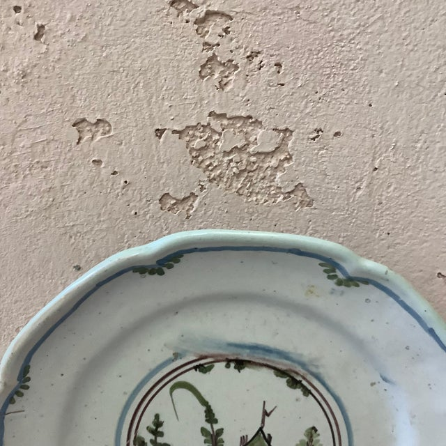 French Country 18th Century French Faience House Nevers Plate For Sale - Image 3 of 6