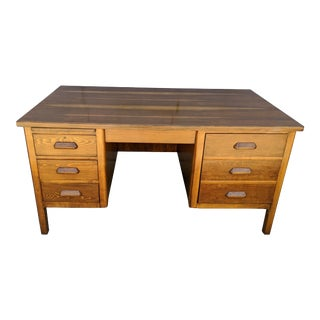 "Mid Century Walnut Executive School Teacher Desk Typewriter Drawer Library 60"" For Sale"
