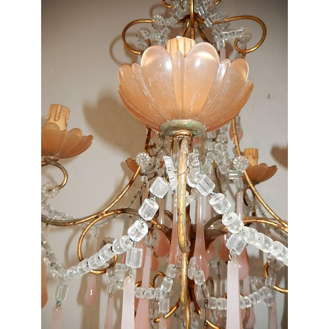French Crystal Pink Bubble Gum Opaline Drops Bobeches and Beads Chandelier For Sale - Image 4 of 10