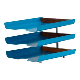 Peter Pepper Products Three-Tiered Paper Tray in Original Blue Enamel For Sale