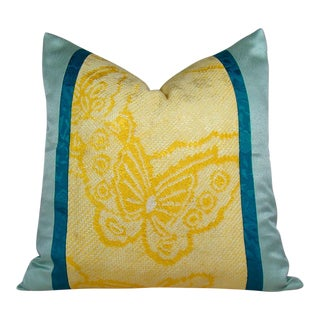 Yellow Shibori Butterfly Pillow Cover For Sale