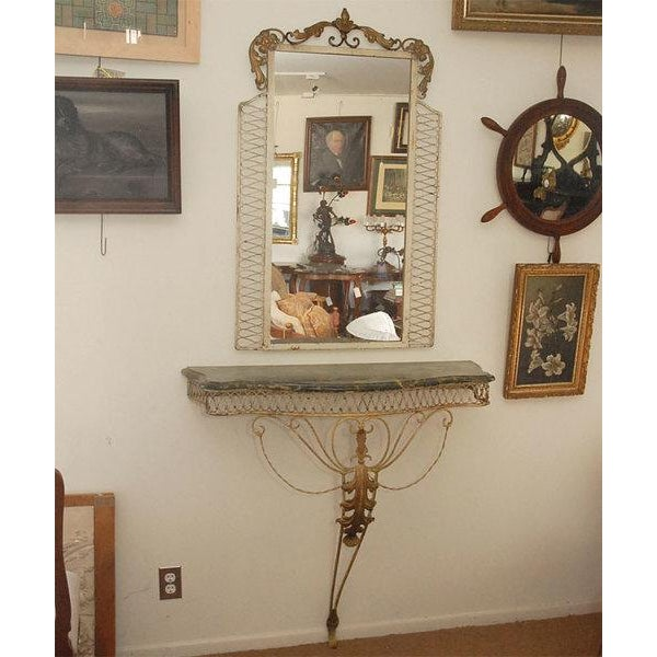 Marble Top Console with Mirror For Sale In Los Angeles - Image 6 of 7