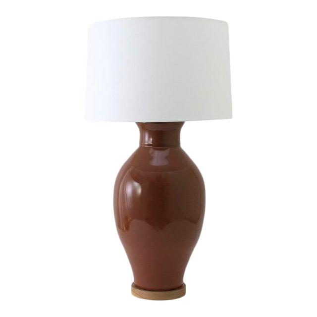 "Paul Schneider Ceramic ""Matagorda"" Lamp in Glossy Cocoa Glaze For Sale"
