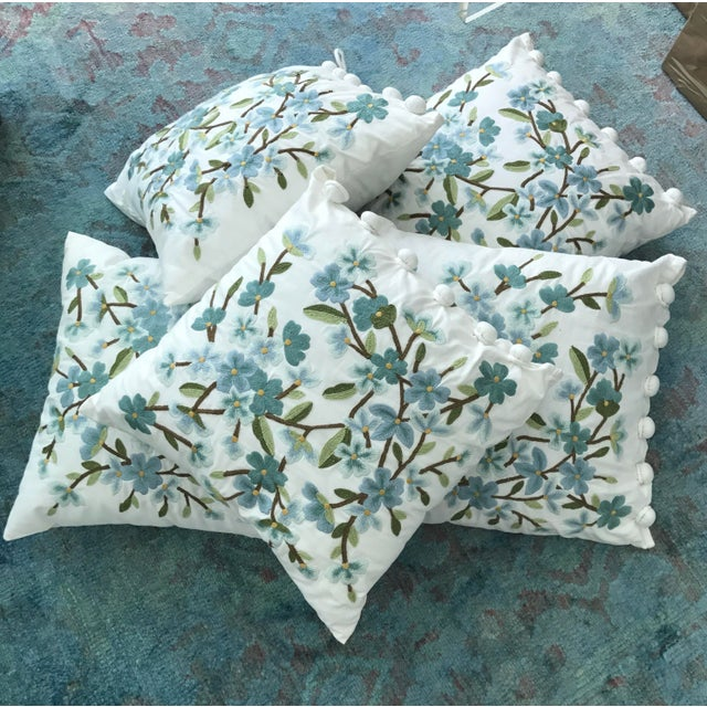 Set of 5 Floral Embroidered Throw Pillows - Image 3 of 5