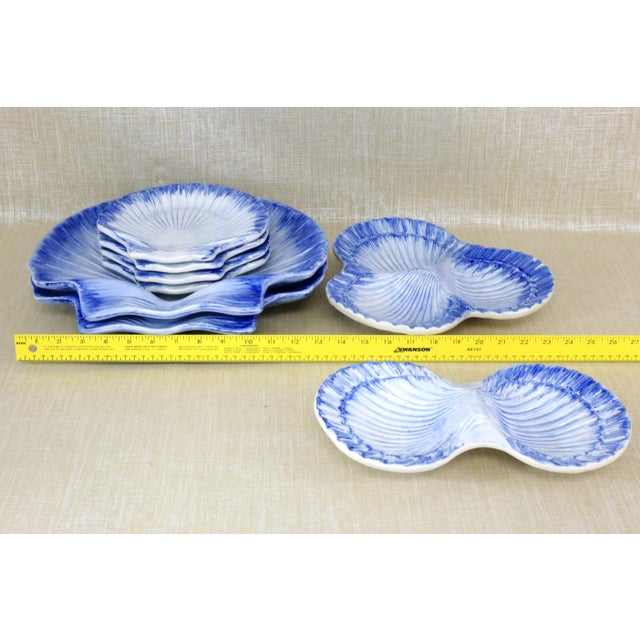 Collection of Made in Portugal Blue and White Shell Pottery - Set of 8 For Sale - Image 11 of 13