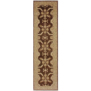 1990s Vintage Nobuko Brown/Tan Hand-Knotted Wool Rug - 2′6″ × 9′8″ For Sale