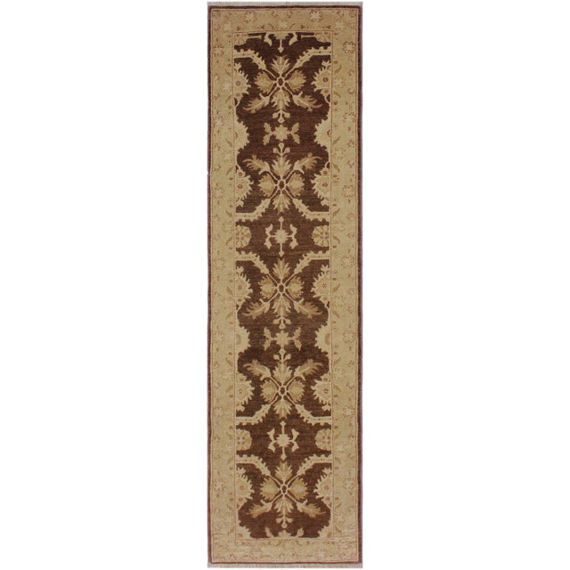 1990s Vintage Nobuko Brown/Tan Hand-Knotted Wool Rug - 2′6″ × 9′8″ For Sale
