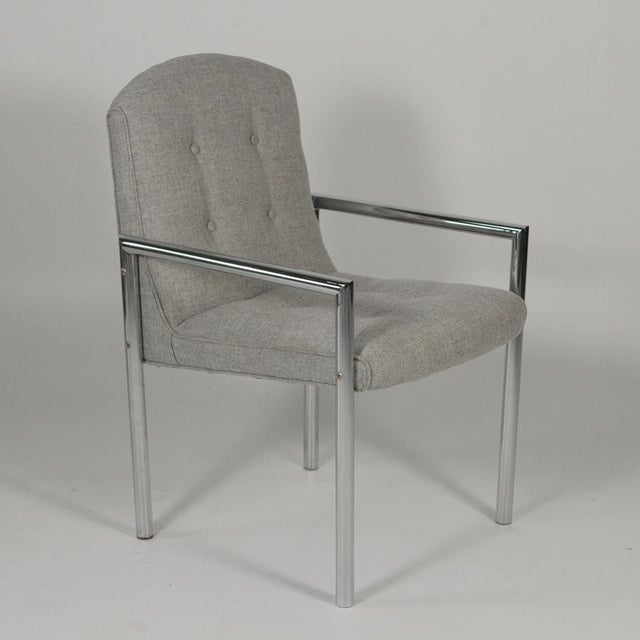 1970s Mid-Century Modern Grey Linen Chrome Tube Armchairs - a Pair For Sale - Image 4 of 10