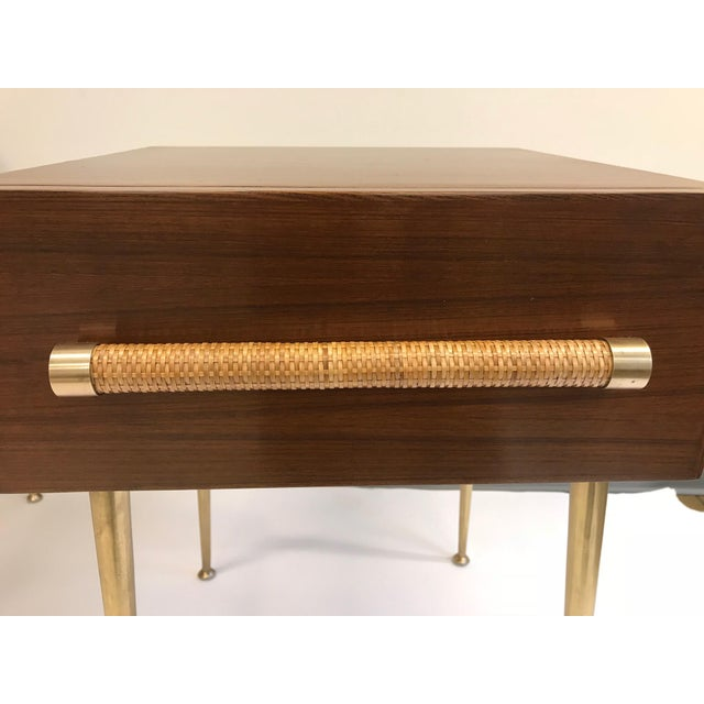 T.H. Robsjohn-Gibbings Walnut and Brass Nightstands - a Pair For Sale In New York - Image 6 of 12
