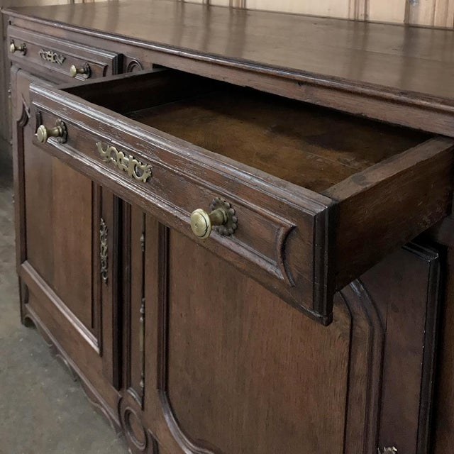 Metal 19th Century Country French Provincial Oak Low Buffet For Sale - Image 7 of 13